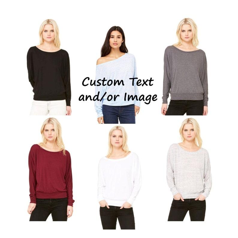 a7801f3f591e Custom Flowy Long Sleeve Off Shoulder Tee Women's Long | Etsy