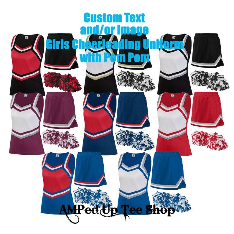 6455d6bc354721 Custom Girls Youth Cheerleader Uniform with Pom Pom