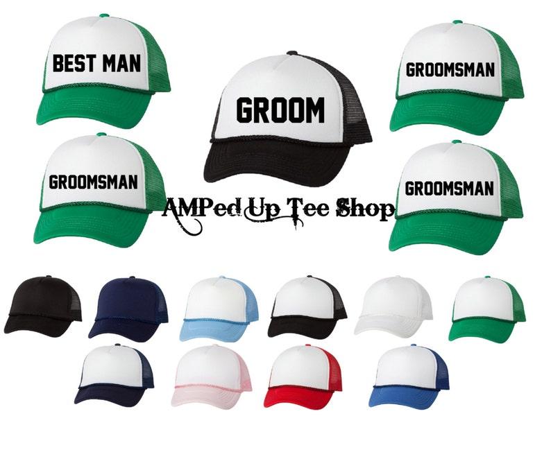 Groomsmen Trucker Hats Groom Shirt Groomsmen Hats Bridal  6ddc982561b