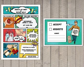 Comic book wedding invitations | Etsy