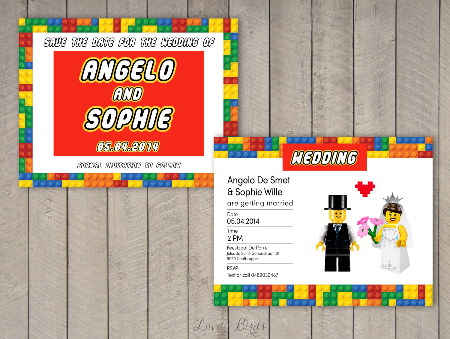 Wedding invitation set Lego Invitation Save the Date | Etsy