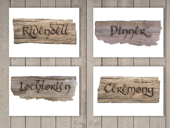 Hobbit Lord Of The Rings Wedding Decoration Sign Post Diy Etsy