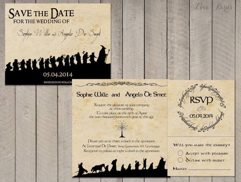 Wedding Invitation Set Lord Of The Rings Save The Date Etsy