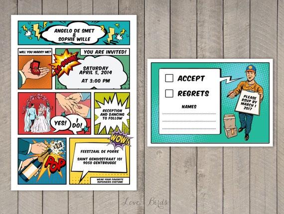 Comic Book Wedding invitation Invitation and RSVP Digital | Etsy