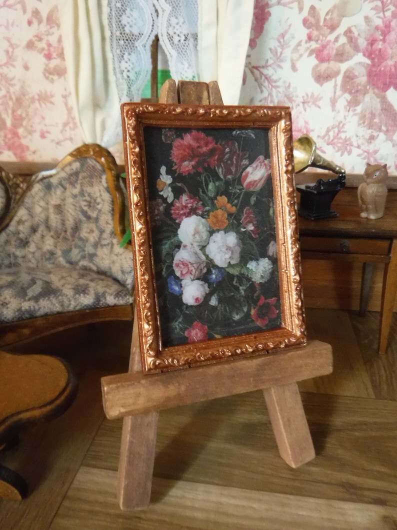 Dollhouse Miniature Still Life Floral in a Gold Ornate Frame