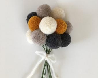 Pom Pom Flowers, Fall Flower Bouquet, Yarn Flowers, PomPom Flowers, Floral Arrangement, Wedding Bouquet, Centerpiece, Rustic Wedding Bought