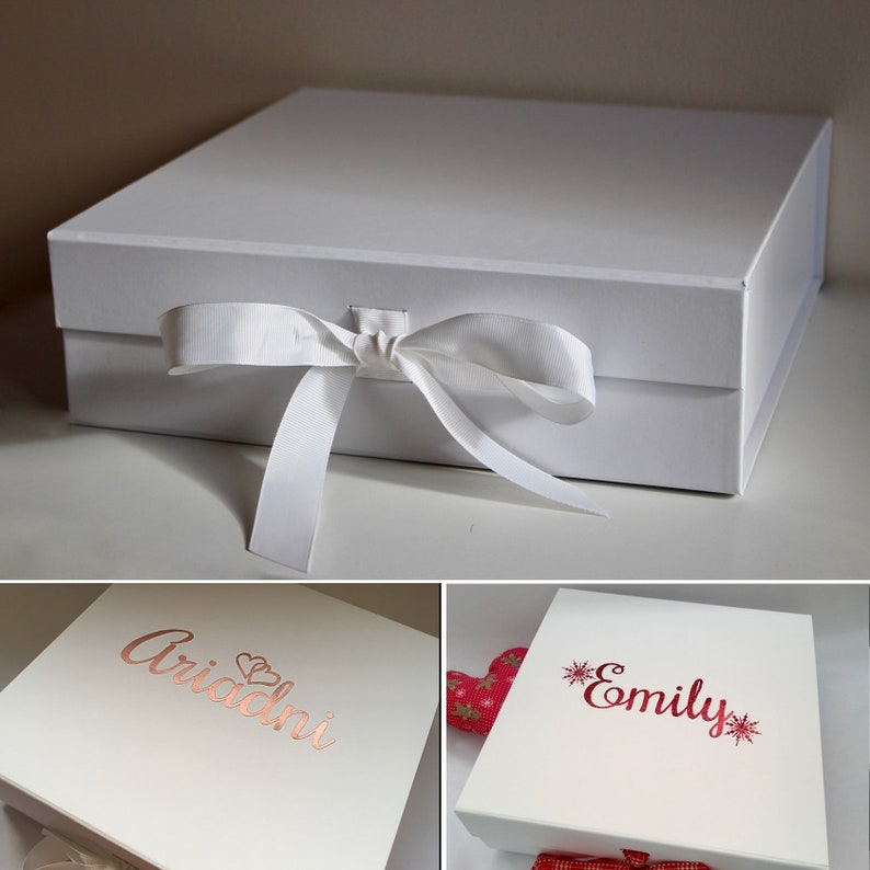 Personalised Large White Keepsake Gift Box With Ribbon And Magnetic Lid Birthday Wedding Anniversary Bride Groom Baby Birthday