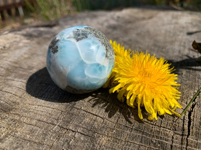 116g 56mm LARIMAR EGG Yoni Sphere Dolphin Stone Natural Crystal Mineral BDL861