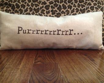 Thought Pillow - Purrrrrrrrrrrrrr - gift idea, decorative pillow, beach house decor, shabby chic pillow, word pillow, typewriter font pillow