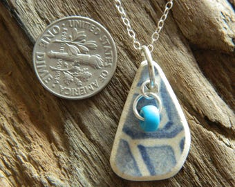 Beautiful Sterling Silver sea pottery pendant necklace with a beach found bead