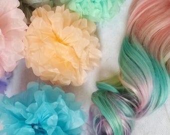 Rainbow pastel Unicorn clip extensions- set of 3 strip wefts- pink, mint, aqua, lavender, purple, 16 inches long