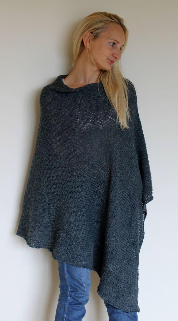 Strick Cape Damen Bordeaux Poncho Stil Hippie Wolle Exklusive Mantel Grau Feminin c45RS3AjLq
