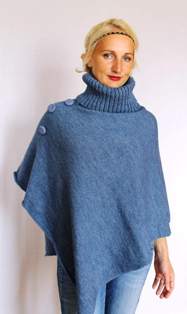4c95506e0 Wool Poncho Coat with collar / Women Cape Coat / wool Poncho   Etsy
