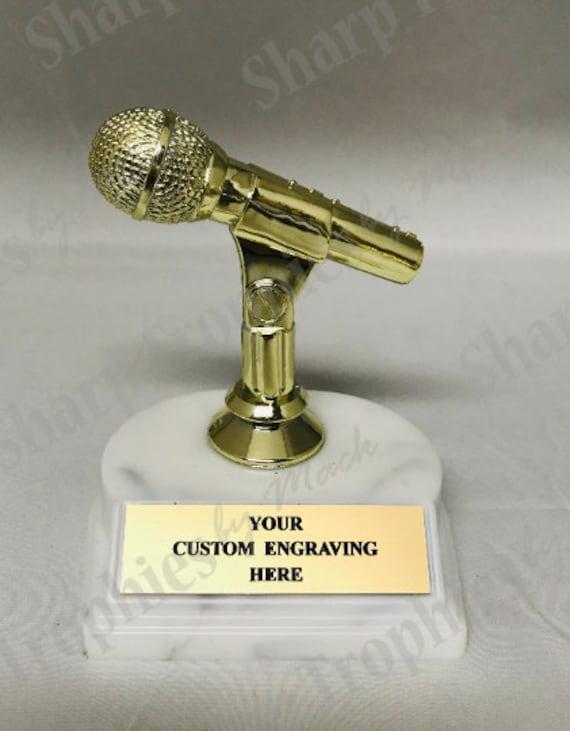 "5 x KARAOKE Trophy 3/"" FREE ENGRAVING Personalised Engraved Award Singing Talent"