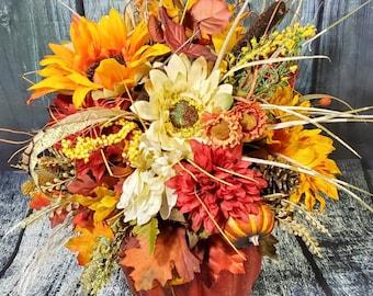 Pumpkin arrangement, Pumpkin centerpiece, Fall floral arrangement, Pumpkin decor, Fall decor, Autumn centerpiece, Fall Pumpkin,Pumpkin DIY