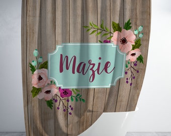 Plum Floral Monogram Shower Curtain