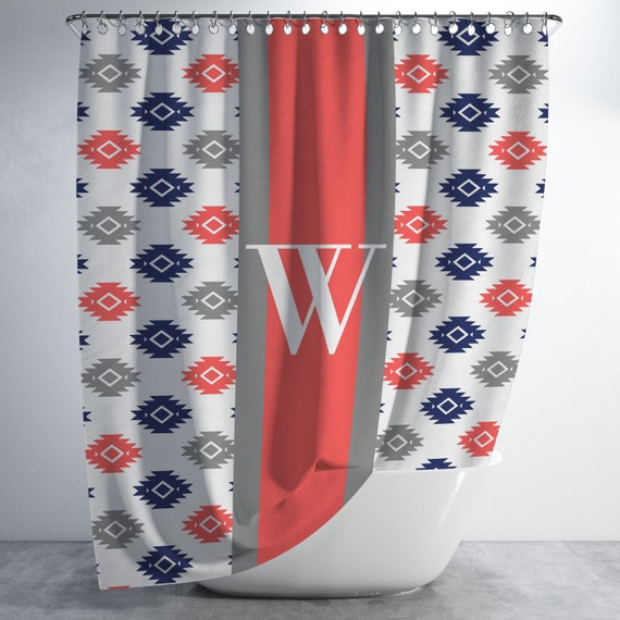 Aztec Monogram Shower Curtain Personalized