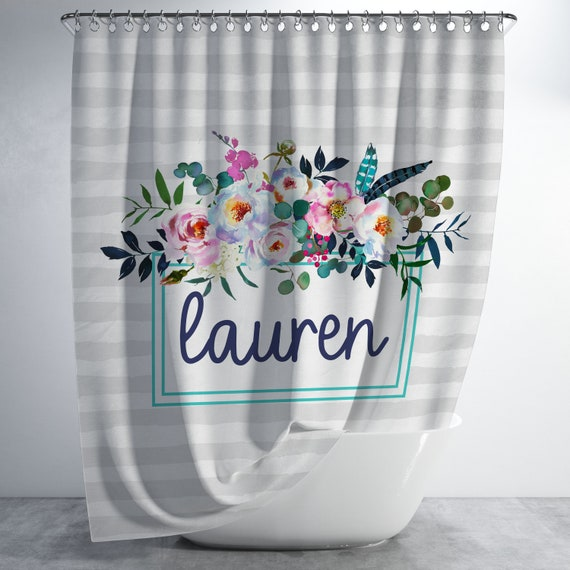 Floral Frame Monogram Shower Curtain Personalized
