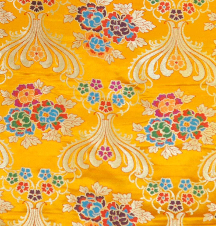 Yellow Thick Brocade Flower Tibetan Textile Tibetan Fabric   Etsy