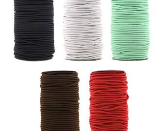 Mandala Crafts Fabric Shock Bungee Elastic Stretch Cord Rope, 3mm, 50 Meters
