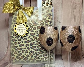Animal Leopard print glitter wine glasses, unique gift set, birthday gift