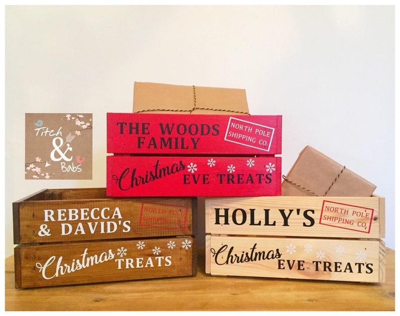 Christmas Crate Box.Christmas Eve Crate Box Christmas Crate Box Personalised Crate Wooden Storage Box Gift Box