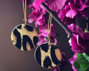 black & gold animal print earrings
