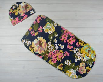 Swaddle Cocoon, Swaddle Sack, Baby Cocoon, Navy Floral Cocoon