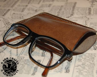 Handmade Leather Glasses Case, Eye wear sleeve, cover - Available in Different Colours