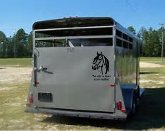 PAINTS ON BOARD Horse Trailer Caution Vinyl Decal Sticker D