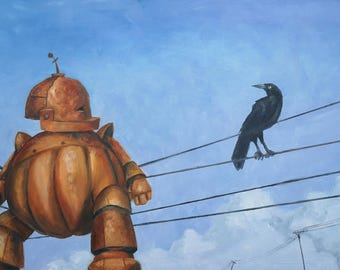 Bot on a Wire robot painting print