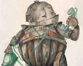 Telephone Bot Robot Painting Print