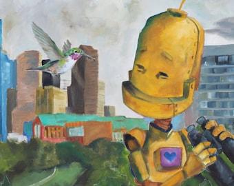 Houston Hummingbird Robot Painting Print
