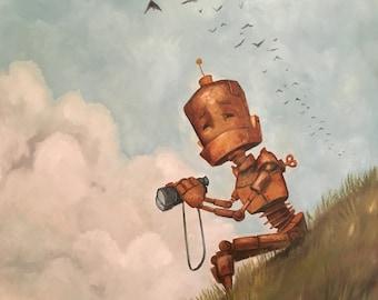 Birdwatcher Robot Painting Print