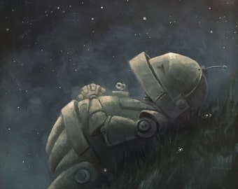 Starry Hillside Robot Painting Print