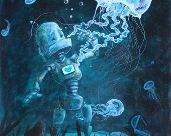 Deep Sea Robot painting Print