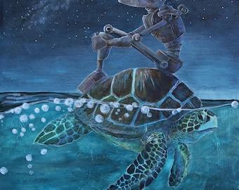 Sea Turtle Bot- Robot Painting Print