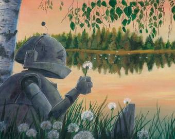 Dandelion Bot ROBOT painting Print