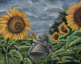 Sunflower Bot robot painting print