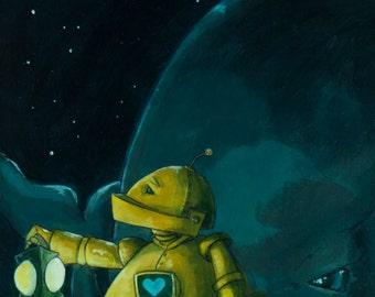 Lantern n' Whale-Bot robot painting print