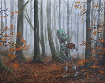 FOREST ROBOT painting print