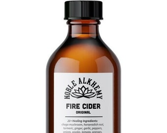 Handcrafted Fire Cider Tonic 4oz. Made with Chaga Mushroom! Respiratory support, immune boost, gut health, anti-inflammatory. SHIPS Fast.