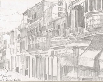 Pencil Drawing in Spain - Giclee Print of Original plein air pencil drawing -  Shops, Ronda, Spain