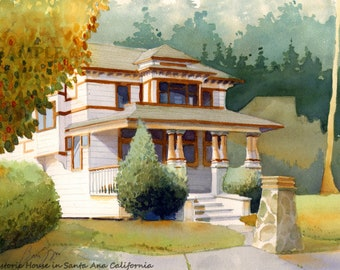 Giclee Print of Original Watercolor Painting of Historic House in Santa Ana California