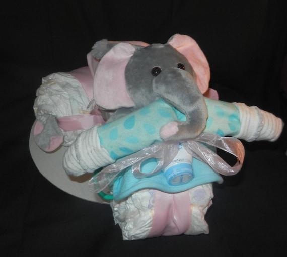 Elephant Pink Tricycle,Elephant Diaper Cake,Teal /& Pink Elephant,Pink and Gray Elephant Nursery,Elephant Baby Shower,Tricycle Diaper Cake