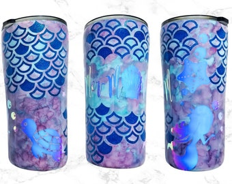 Mermaid Tumbler - Glitter Tumbler - Travel Coffee Mug - Monogram Stainless - Tumbler - Decal Tumbler - Glitter Mermaid - Mermaid Gifts