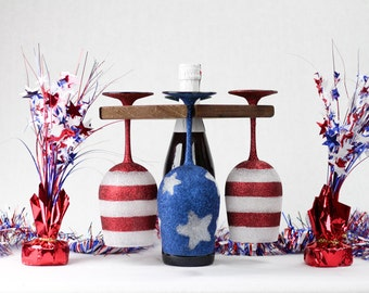 4th Of July Wine Glasses With Wine Caddy