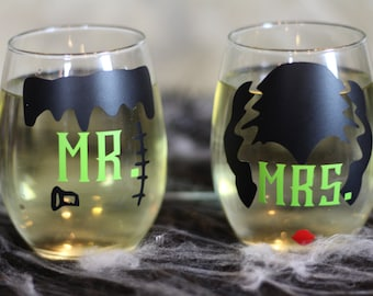 Mr. and Mrs. Frankenstein stemless glasses
