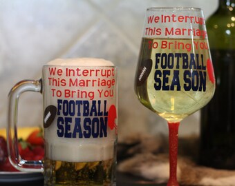 Couple Sports Beer Mug and Wine Glass Set