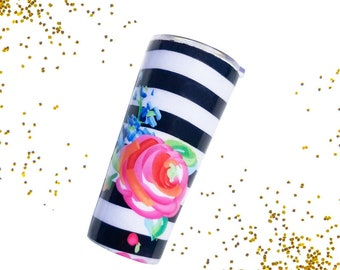 Rose Tumbler - Travel To-Go Cup - Personalized Tumbler - Travel Coffee Mug - Monogram Stainless Yeti Tumbler - Tumbler Decal - Steel Tumbler